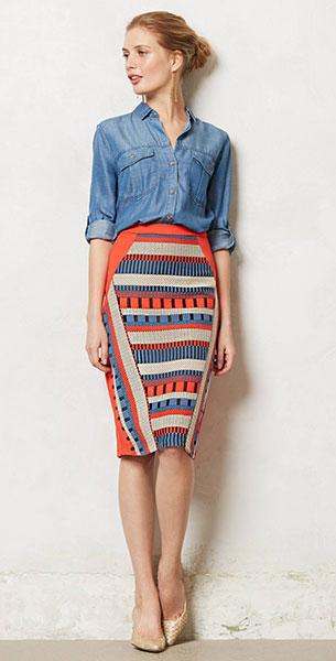 กระโปรงทรงดินสอ ลายเส้นสีส้มฟ้าดำเทา Eva Franco เสื้อยีนส์