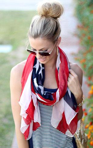 ผ้าพันคอ ลายธงชาติอเมริกา