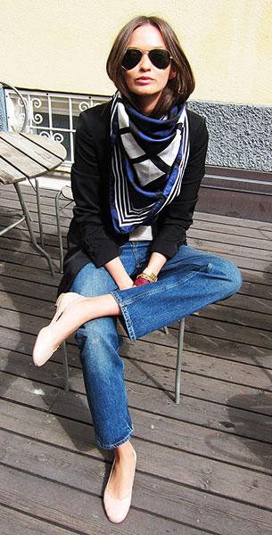 ผ้าพันคอ สีดำขาวน้ำเงิน Bimba y Lola เสื้อสูท Zara เสื้อ H&M กางเกงยีนส์ Acne รองเท้า Chloé แว่นตากันแดด Ray Ban