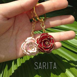 พวงกุญแจ ดอกกุหลาบ สีชมพู สีแดง