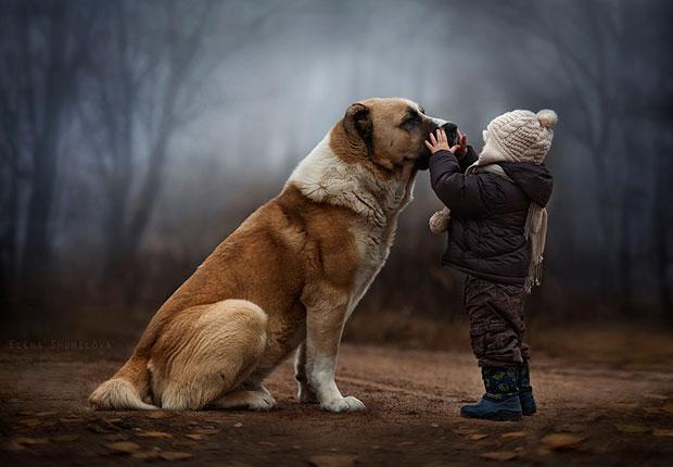 ภาพถ่ายเด็กกับหมา
