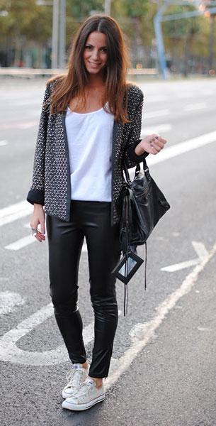 รองเท้าคอนเวิร์ส สีขาว เส้นแดง แจ๊คเก็ต Zara เสื้อ Zara กางเกง H&M กระเป๋า Balenciaga