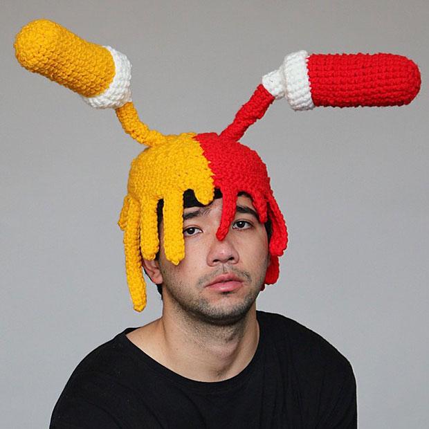 หมวกโครเชต์ มัสตาร์ด ซอสมะเขือเทศ