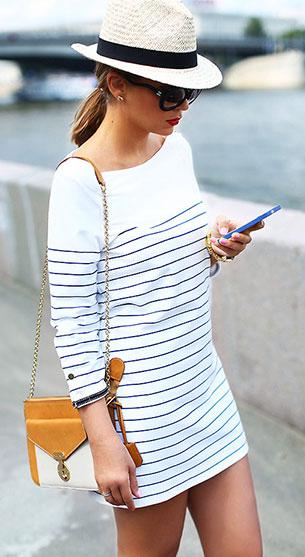 เดรสลายขวาง ขาวดำ Bershka กระเป๋า Celine หมวก H&M แว่นตากันแดด Chanel