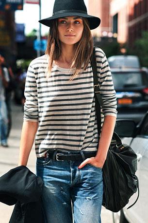เสื้อลายขวาง ขาวเทา Andreea Diaconu New York Fashion Week Spring Summer 2013