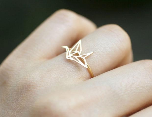 แหวนรูปนกกระดาษพับ