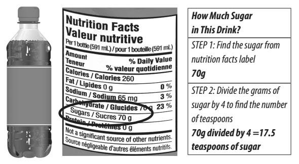 อ่านฉลากน้ำอัดลม เพื่อบอกปริมาณน้ำตาล