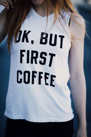 เสื้อกล้ามสีขาว Brandy Melville Ok But First Coffee