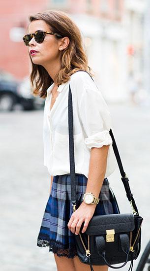 เสื้อเชิ้ตขาว Mango กระโปรงลายสก๊อตสีน้ำเงิน  Pau'la Boutique รองเท้า Zara กระเป๋า 3.1 Phillip Lim สร้อยคอ Brandy Melville