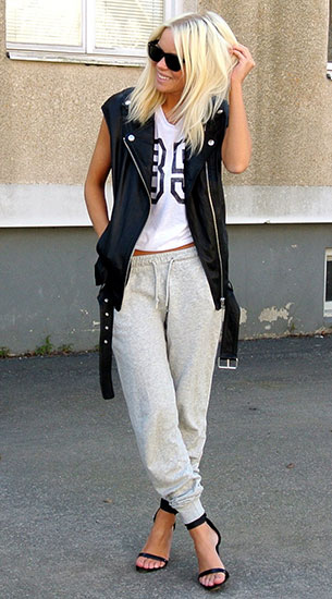 Jogging Pants สีเทาอ่อน Carlings เสื้อขาว Nelly เสื้อกั๊กหนัง H&M รองเท้า Nelly