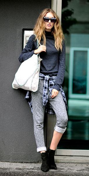 Jogging Pants สีเทา สเว็ตเตอร์เทาเข้ม Manuela Frey Milan Fashion Week Spring Summer 2015