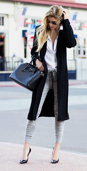 Jogging Pants สีเทา 10 Corso เสื้อ Bella Dahl เสื้อโค้ท Topshop รองเท้า Christian Louboutin กระเป๋า Givenchy