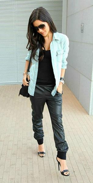 Jogging Pants หนัง BCBGMAXAZRIA เสื้อกล้ามสีดำ Susan Monaco เสื้อเชิ้ตยีนส์ Urban Outfitter รองเท้า Steve Madden กระเป๋า Proenza Schouler