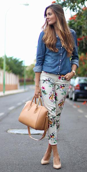 กางเกงลายดอก สีขาว Zara, เสื้อเชิ้ตยีนส์ Stradivarius, รองเท้า SuiteBlanco, กระเป๋า Teria Yabar, นาฬิกา Max Madoxx