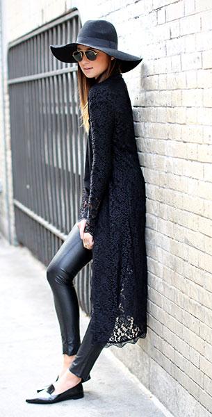 กางเกงหนัง BlankNYC เสื้อ Tildon เสื้อคลุม กิโมโน Arnhem รองเท้า Prada