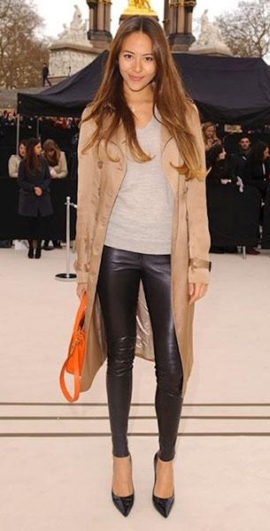 กางเกงหนัง Jessica Michibata Burberry Autumn Winter 2012 Womenswear Arrivals