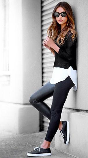 กางเกงหนัง Lulu's เสื้อเชิ้ตขาว สเว็ตเตอร์ดำ
