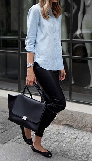 กางเกงหนัง Mossman Clothing เสื้อเชิ้ต H&M รองเท้า Pretty Ballerinas กระเป๋า Celine นาฬิกา Triwa