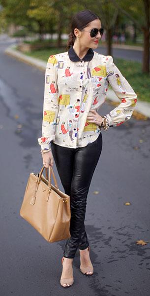 กางเกงหนัง Paige Black Label, เสื้อ Kate Spade, รองเท้า Zara, กระเป๋า Prada, แว่นตากันแดด Ray Ban