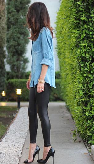 กางเกงหนัง Topshop เสื้อเชิ้ตยีนส์ Shop Frankie's รองเท้าส้นสูง LAMB แว่นตากันแดด Celine