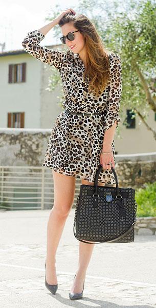 เดรส  Leopard Primark, รองเท้า Jonak, กระเป๋า Michael Kors, แว่นตากันแดด Vintage