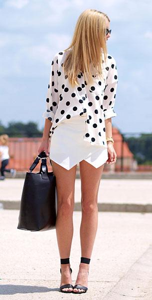 เสื้อเชิ้ต Polka Dot สีขาวจุดดำ NOWiSTYLE, กางเกงขาสั้นสีขาว Zara, รองเท้า H&M, กระเป๋า Sheinside, นาฬิกา Michael Kors