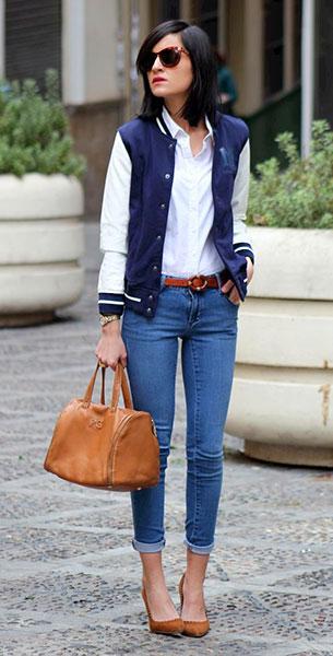 แจ็คเก็ตไฮสคูล สีน้ำเงินแขนขาวขอบขาว, เสื้อเชิ้ตขาว, กางเกงยีนส์