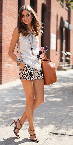 แฟชั่นลายเสือดาว, กางเกงขาสั้น, เสื้อแขากุด สีขาว, Olivia Palermo