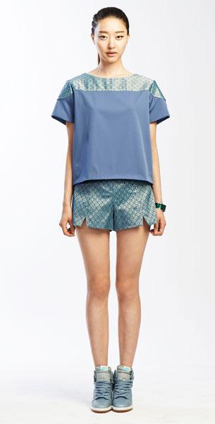 แฟชั่นสไตล์มินิมอล เสื้อสีน้ำทะเล, กางเกงขาสั้นสีน้ำทะเล