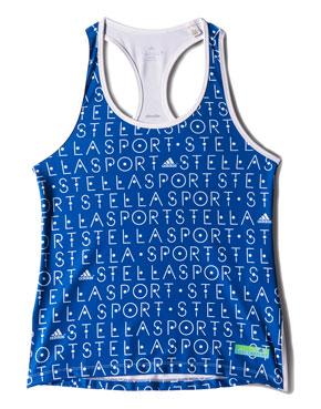 Adidas StellaSport, Sport Tank AOP เสื้อกล้ามสีน้ำเงิน ลายตัวหนังสือสีขาว