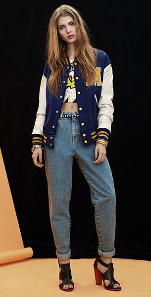 Varsity Jacket น้ำเงินแขนขาวขอบเหลือง Topshop, เสื้อครอปลายกราฟฟิก, กางเกงเยีนส์