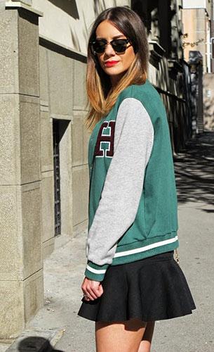 Varsity Jacket สีเขียวแขนเทาขอบเขียว, เดรสสีดำ