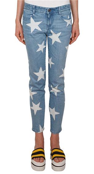 กางเกงยีนส์ ลายดาวสีขาว Stella McCartney