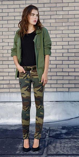 กางเกงลายทหาร, แจ็คเก็ตสีเขียวทหาร, เสื้อยืดสีดำ, TEXTILE Elizabeth and James Fall 2012