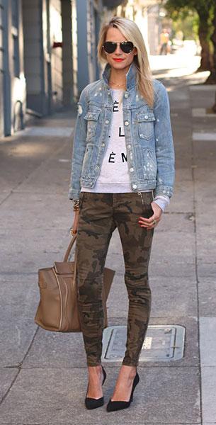 กางเกงลายทหาร Zara, แจ็คเก็ตยีนส์ Marc by Marc Jacobs, สเว็ตเตอร์ สีเทา  Zoe Karssen, รอเงเท้า Zara, กระเป๋า Celine