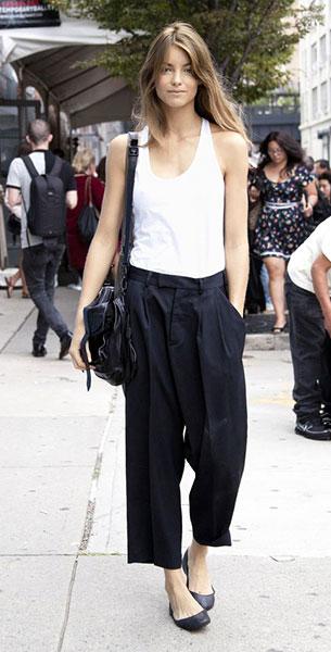 กางเกง Culottes สีดำ, เสื้อกล้ามสีขาว