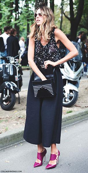 กางเกง Culottes สีดำ, เสื้อกล้าม สีดำจุดขาว