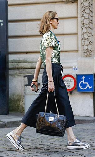 กางเกง Culottes สีดำ, เสื้อปักเลื่อมสีเขียว