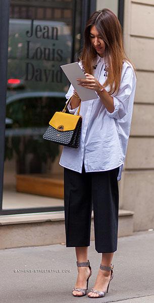 กางเกง Culottes สีดำ, เสื้อเชิ้ตสีขาว, Meruyert Ibragim
