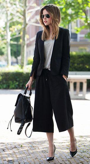 กางเกง Culottes สีดำ H&M Trend, เสื้อสูท H&M Trend, เสื้อยืดสีเทา T by Alexander Wang, รองเท้า Zara, กระเป๋า Topshop