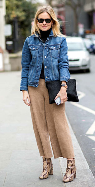 กางเกง Culottes สีน้ำตาล, แจ็คเก็ตยีนส์, เสื้อคอเต่าสีดำ