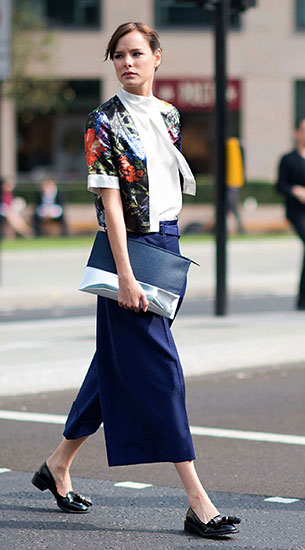 กางเกง Culottes สีน้ำเงิน, เสื้อสีขาว, แจ็คเก็ตลายดอกไม้, London Fashion Week