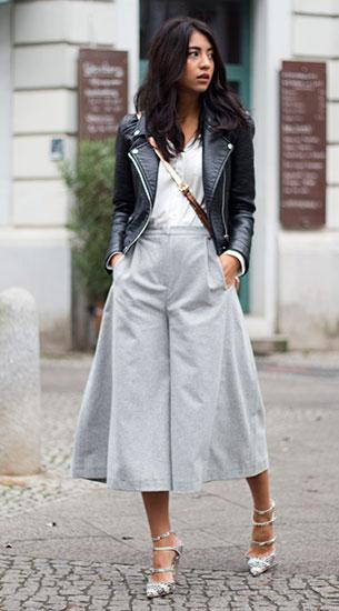 กางเกง Culottes สีเทา Carin Wester, แจ็คเก็ตหนัง Zara, เสื้อสีขาว Baujken, รองเท้า The Mode Collective, กระเป๋า Etienne Aigner