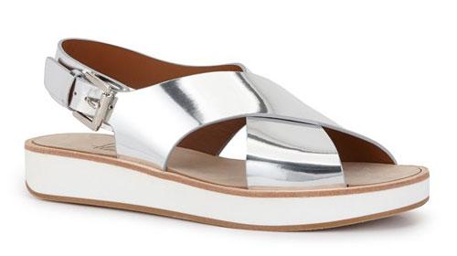 รองเท้าสีเงิน พื้นสีน้ำตาลสีขาว Flamingos