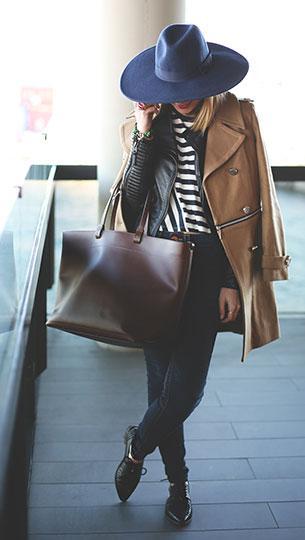 รองเท้า Oxford สีดำ Forever 21, เสื้อโค้ทสีน้ำตาล, แจ็คเก็ตหนัง Zara, เสื้อลายขวางขาวดำ Zara, กางเกงยีนส์ True Religion