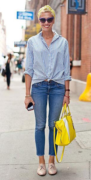 รองเท้า Oxford สีเบจ, เสื้อเชิ้ตลายตั้ง สีขาวสีน้ำเงิน, กางเกงยีนส์, Laurel Pantin, New York Fashion Week