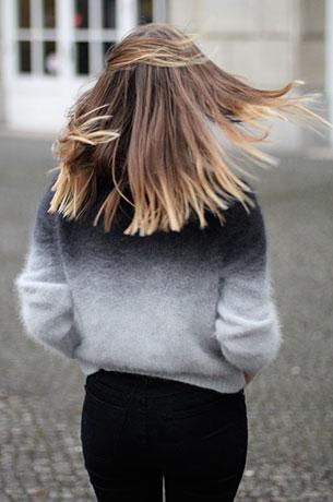 สเว็ตเตอร์ไล่เฉดสี ดำเทา H&M, กางเกงยีนส์ สีดำ Cheap Monday, รองเท้า Mango, กระเป๋า Zara