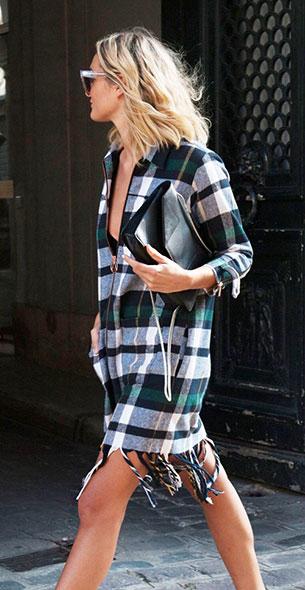 เดรสลายสก๊อต สีเขียว Eleven Paris, รองเท้า Whistles, กระเป๋า Saint Laurent, แว่นตากันแดด Celine