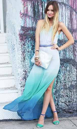 เดรสไล่สี ฟ้าเขียวน้ำเงิน Chelsea Flower, รองเท้า Zara, กระเป๋า Brahmin, เข็มขัด American Apparel