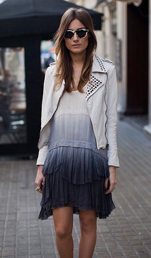 เดรสไล่เฉดสี ขาวน้ำเงิน Zara, แจ็คเก็ตหนัง สีขาว Zara